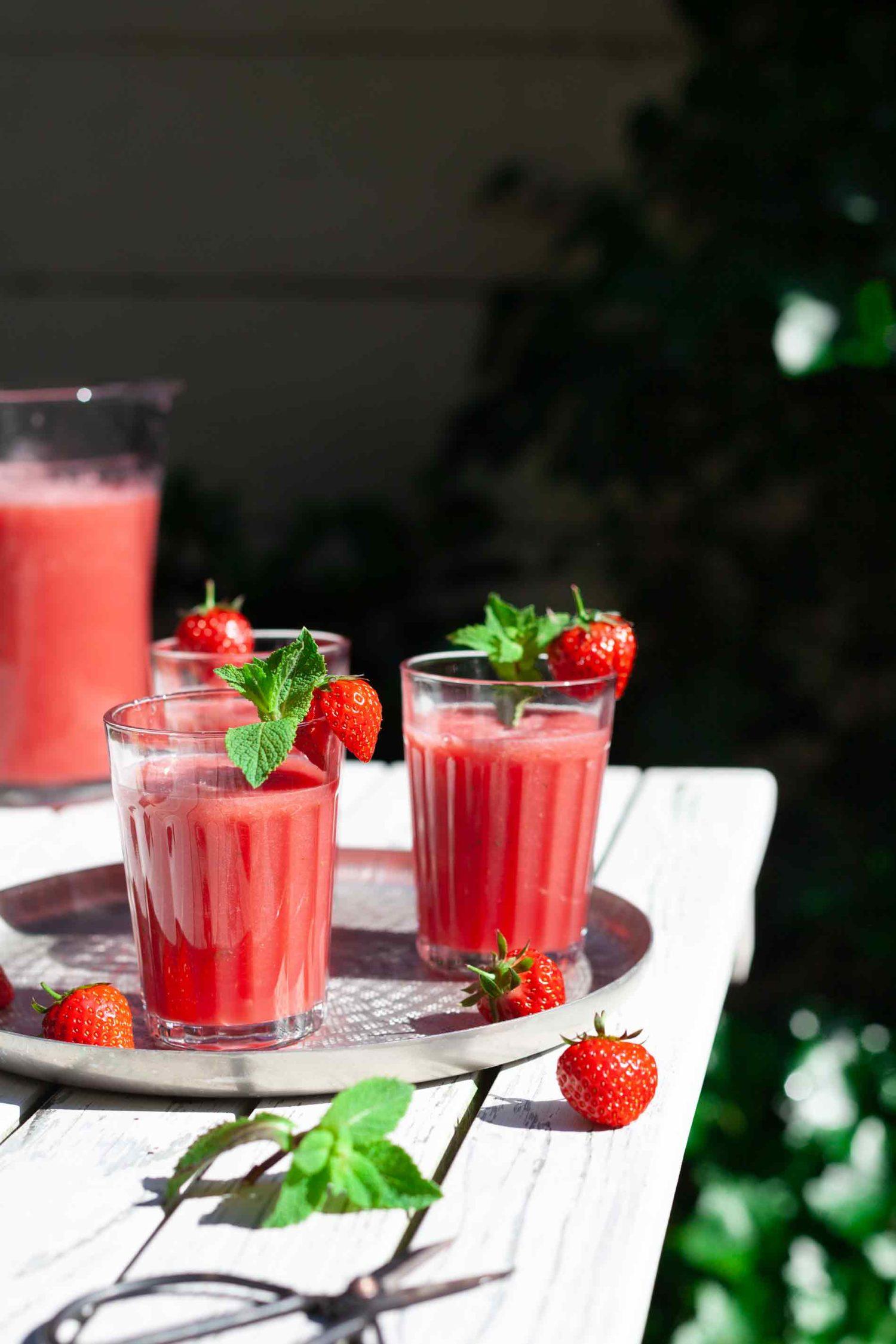 Watermeloen aardbei shake